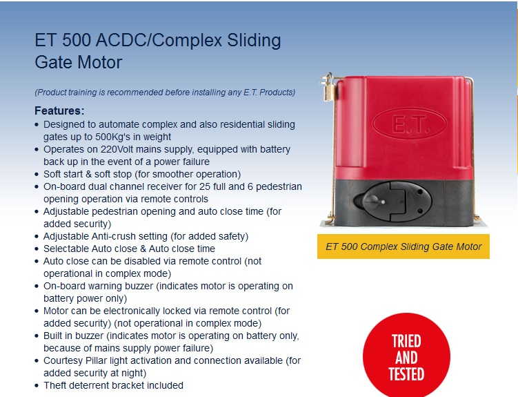 Gate Repairs Durban Recommended ET 500 ACDC Sliding Gate Motor